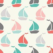 Sailboat shape seamless pattern. Vector illustration for marine design