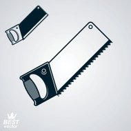 Stylized metal saw with sharp teeth, clear eps8 vector
