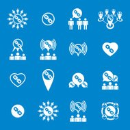 Teamwork and business cooperation theme creative vector icons
