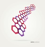 Abstract wave Vector hexagons template