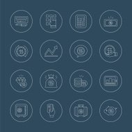 Business finance line icon set