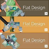 Flat design vector infographic banners with geometric infographics