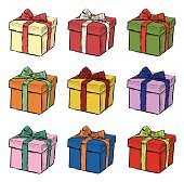Hand drawing of Christmas gift, set of nine vector illustrations.