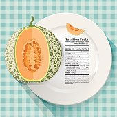 Vector of Nutrition facts in cantaloupe