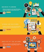 Flat design concepts for business planning, search solutions, analysis action