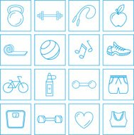 Exercise/fitness icons set