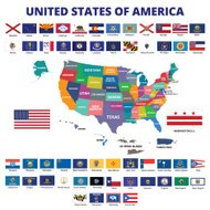 USA Map and State Flags
