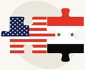 USA and Syria Flags in puzzle