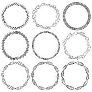 Set of doodle circle frames and Victorian ornaments photo border