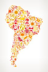 South America Map on Summer Pattern Background