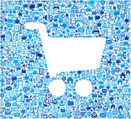 Shopping Cart on vector technology pattern Background