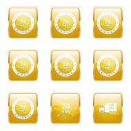 24 Hours Services Square Vector Yellow Icon Design Set