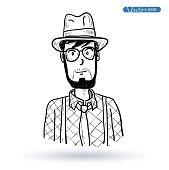 hipster style, hand drawn illustration.