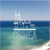 Vector linear symbol of Crimea on blurred background. The castle
