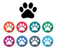 pet footprint in flat round icon