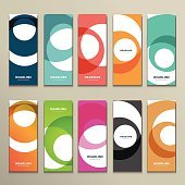 Ten colorful swirl patterned brochures arranged in two rows
