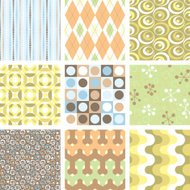 Yet another set of nine funky retro seamless patterns