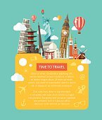 Illustration  of flat design postcard with famous world landmarks icons