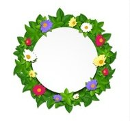Paper green leaves and colorful flowers with white circle sticke