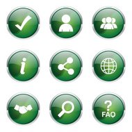 Web Internet Green Vector Button Icon Design Set 2