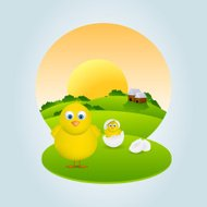 Happy Easter celebration with cute chicks.