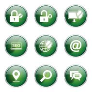 SEO Internet Sign Green Vector Button Icon Design Set 3