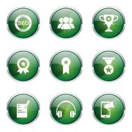 SEO Internet Sign Green Vector Button Icon Design Set 9