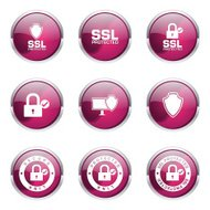 Protection Web Internet Pink Vector Button Icon Design Set