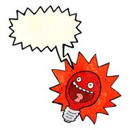 cartoon red lightbulb with speech bubble