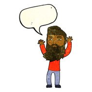 cartoon bearded man waving arms with speech bubble