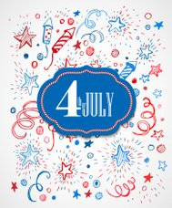 American Independence Day. Hand-drawn pattern