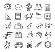 Education Icons - thin lines style