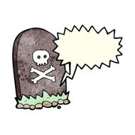 cartoon grave with speech bubble