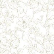 Seamless pattern with ornament  flowers tulips and magnolia