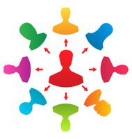 Concept of leadership, colorful people icons