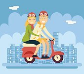 Hipster Male Female Couple Characters Riding Schooter Concept Urban Landscape