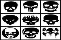 Collection of black skulls on white background