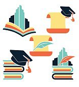 education in university, vector collection of reading symbols