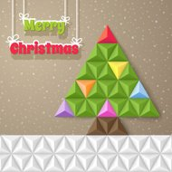 Christmas geometrical background with fir-tree. Vector illustrat