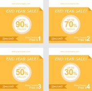 set of coupon discount, gift vouchers, free coupon vector
