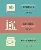 set of vintage books related banners