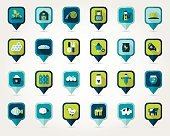 Blue and green farm and garden flat mapping pin icons