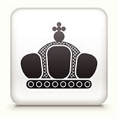 Royalty free vector icon button with Crown Icon