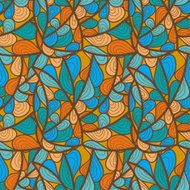 decorative pattern of the plant and abstract elements