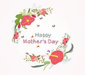 lettering mothers day with flower element