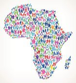 Africa on vector family pattern Background