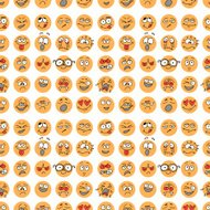Seamless pattern with hand drawn emoticons