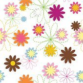 Flora Flower Seamless Pattern Design Vector Illustartion