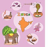 The set of national profile of the india cartoon state of the world isolated