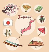 The set of national profile of the japan cartoon state of the world isolated